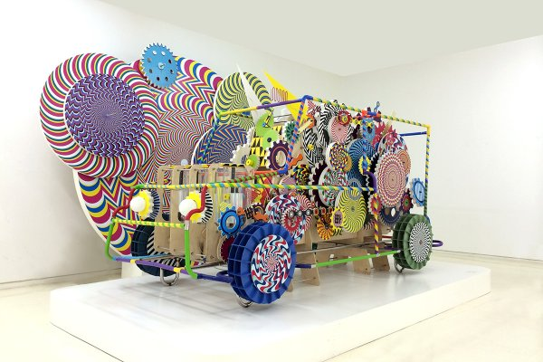 Vakki regularly creates kintetic installations, such as What I Dreamed (2013) pictured above, which is motorized and made with wood, mixed media, fomex and vinyl sheeting. Photo: Vakki
