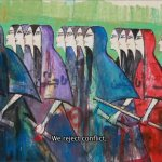 Artist Alaa Awad's depiction of women marching, inspired by the classical Egyptian pharaonic painting style.  Photo: Screenshot from Art War.