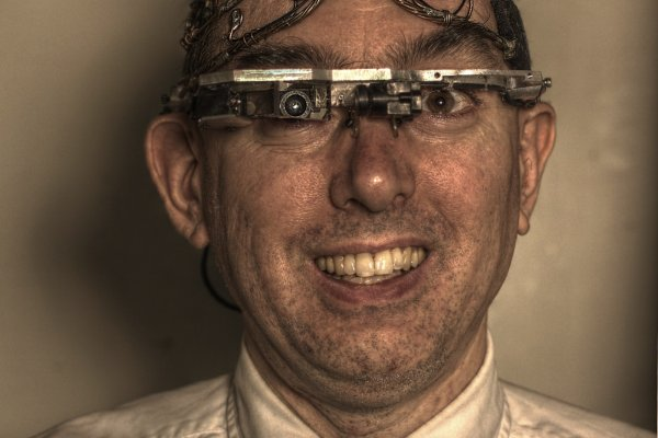 Prof. Steve Mann, shown here with his EyeTap augmented vision and MindMesh controller, began working on wearables in the 1980's. © Courtesy of S. Mann, originally published in Encyclopedia of HumanComputer Interaction, The Interaction Design Foundation, 2012