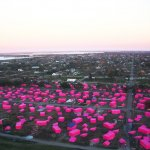 Brad Pitt's Pink Project film and architecture installation, realized with GRAFT, depicts the houses of New Orleans' Lower Ninth Ward still left to be rebuilt following Hurricane Katrina. Photo: Megan Grant
