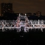 Rice University in Houston, Texas, celebrated their centennial in 2012 with 270° projections along 240 meters of wall with 6.1 full spatial sound. Photo: Courtesy of the artists