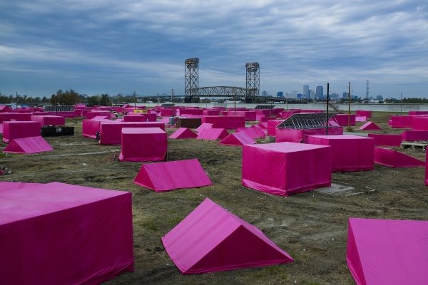 Brad Pitt's Pink Project film and architecture installation, realized with GRAFT, depicts the houses of New Orleans' Lower Ninth Ward still left to be rebuilt following Hurricane Katrina. Photo: Ricky Ridecos