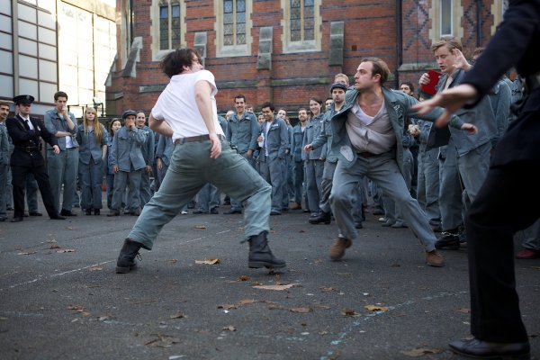 Hired actors 'fight' as part of the production of The Shawshank Redemption in 2012. © Carlotta Cardana