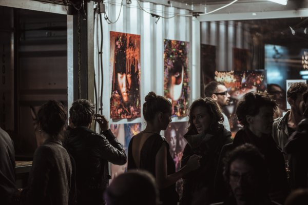 the opening party with Sacha Vatkovic and his 3D paintings