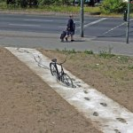 Bike And Sidewalk in Berlin, 2012, is a twisted take on things we see everyday.