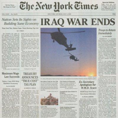 IRAQ WAR ENDS - theyesmen distribute fake NYTIMES