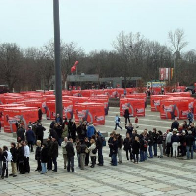 100 BALLOT-BOXES in front of the BUNDESTAG
